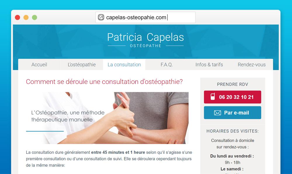 Aperçu mobile site Ostéopathie