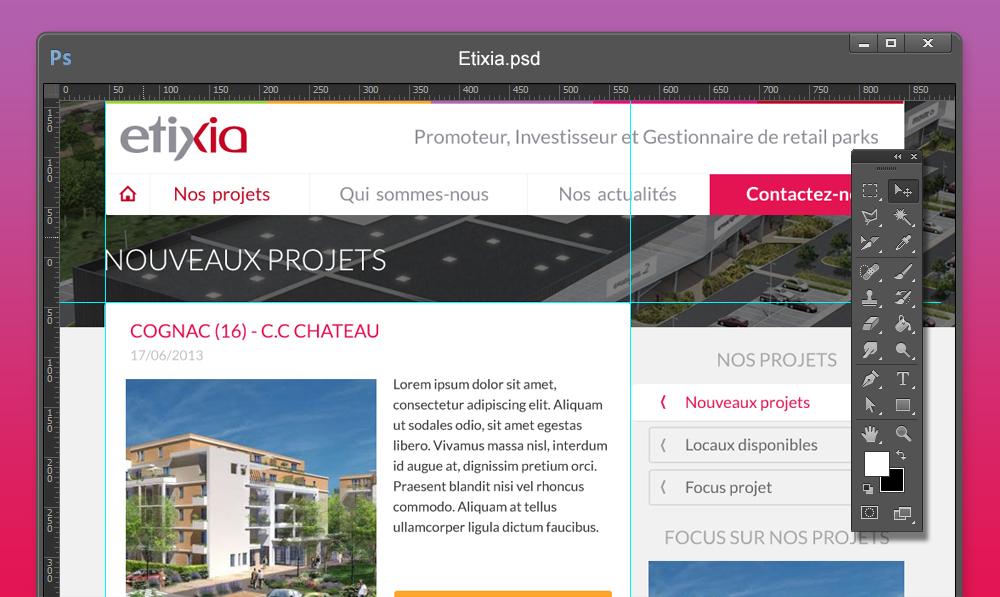 Webdesign de la liste des projets