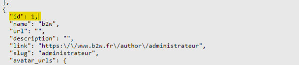 Aperçu de données au format JSON