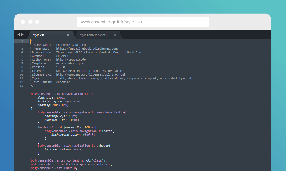 Création du theme WordPress