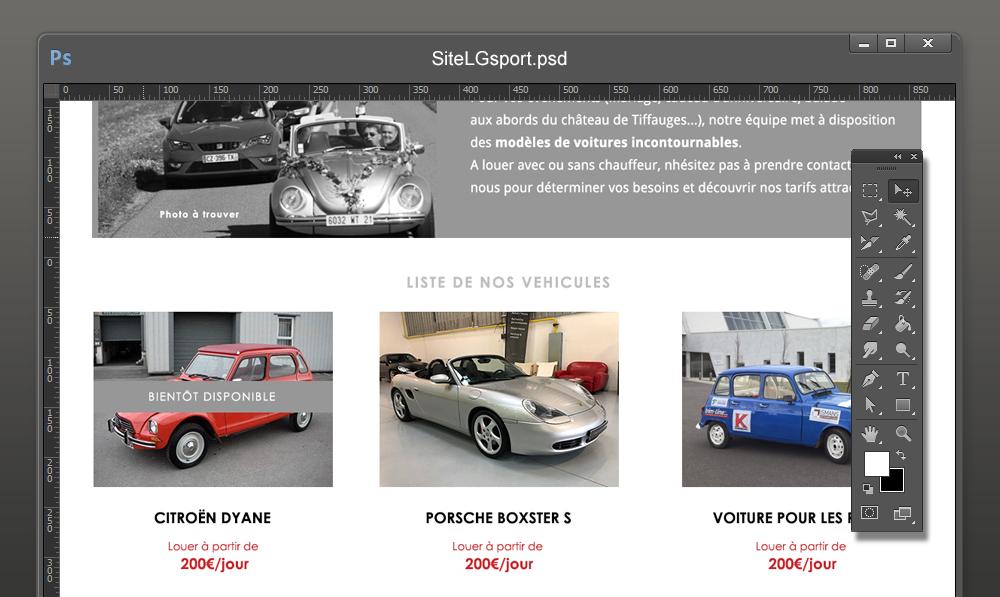 Maquette graphique site location voiture